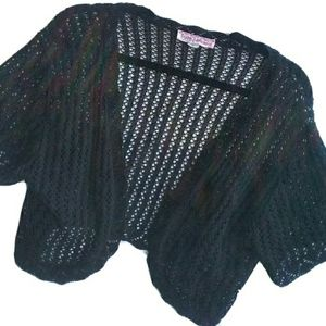 Cropped Knit Cardigan Sweater Shrug Black Juniors